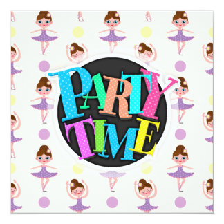 Dançarino de balé roxo e amarelo bonito, bailarina convite quadrado 13.35 x 13.35cm