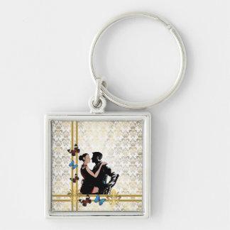 Dançarinos do salão de baile na cor damasco branca chaveiro quadrado na cor prata