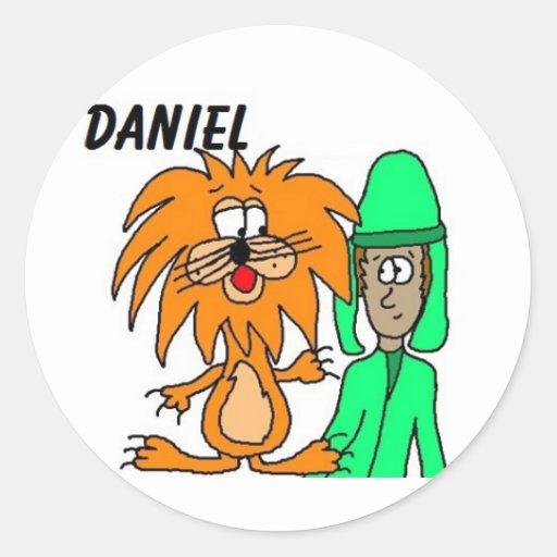 Daniel nas etiquetas do antro do leão adesivos em formato redondos