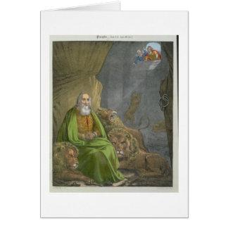 Daniel no antro dos leões, de uma bíblia impressa  cartão comemorativo