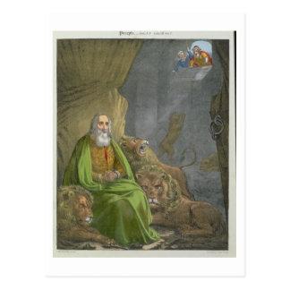 Daniel no antro dos leões, de uma bíblia impressa cartão postal
