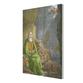 Daniel no antro dos leões, de uma bíblia impressa  impressão em tela