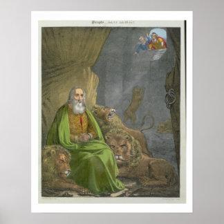 Daniel no antro dos leões, de uma bíblia impressa  poster