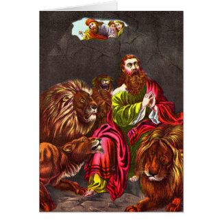 Daniel no cartão do antro do ` s do leão