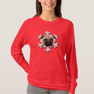 Das mulheres longas da luva do floco de neve do t-shirts