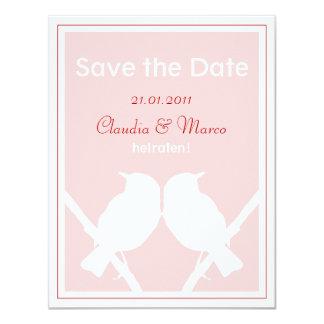 Date Save the cartão rosa e vermelho à boda Convite 10.79 X 13.97cm