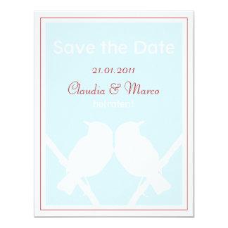 Date Save the cartão türkis e vermelho à boda Convite 10.79 X 13.97cm