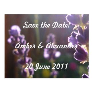Date Save the - Invitation Postcard (lavender Cartão Postal