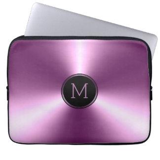 De aço inoxidável roxo metálico brilhante liso sleeve para notebook