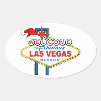 Dê boas-vindas a Las Vegas fabuloso ao Natal Adesivo Oval