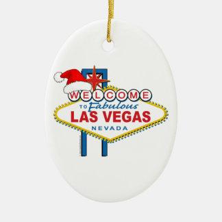 Dê boas-vindas a Las Vegas fabuloso ao Natal Ornamento De Cerâmica Oval