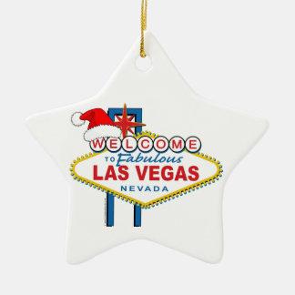 Dê boas-vindas a Las Vegas fabuloso ao Natal Ornamento De Cerâmica Estrela