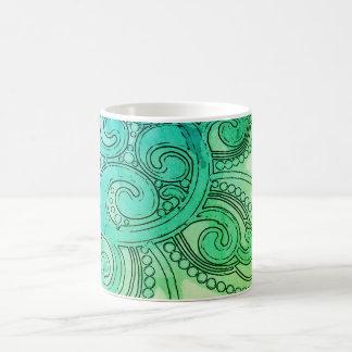 """De """"caneca azul esverdeado do design da onda caneca de café"""