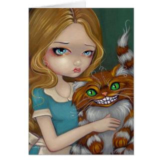"""De """"cartão do afago do gato Cheshire"""" Cartão Comemorativo"""