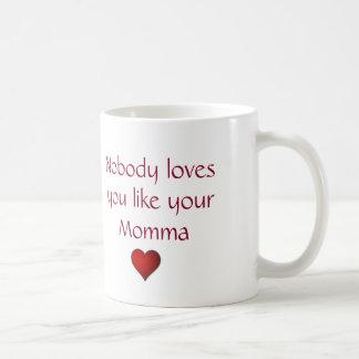 """De """"coração da mamã do feliz dia das mães do amor caneca"""