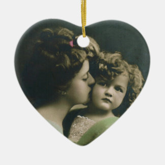 """De """"coração do dia das mães do vintage do amor ornamento de cerâmica coração"""