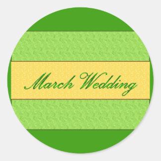 """De """"etiqueta elegante do casamento março"""" adesivo"""