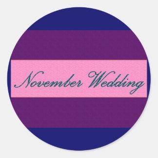 """De """"etiqueta elegante do casamento novembro"""" - adesivo"""