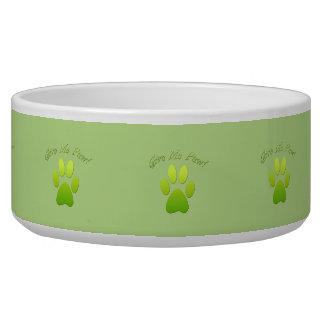 Dê-me a pata - verde tijelas para comida de cachorros
