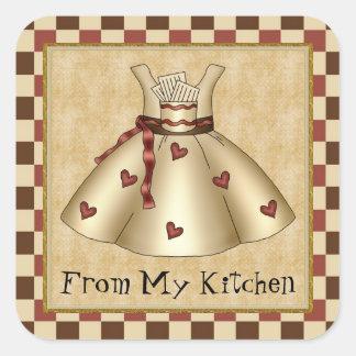De minha etiqueta dos desenhos animados da cozinha adesivo quadrado