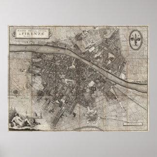 De Molini mapa 1847 de bolso de Florença Italia Pôsteres