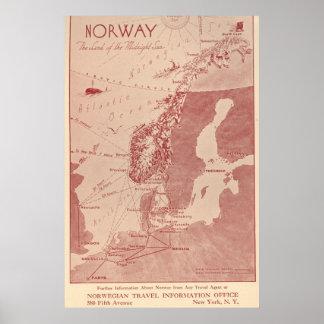De Noruega do viagem escritório 1939 de informação Poster