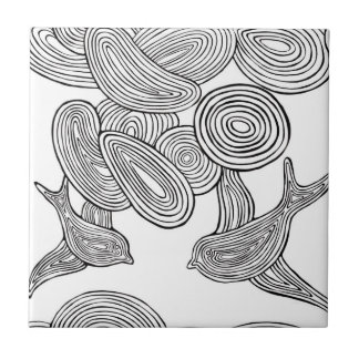 """De """"pássaro Swirly """" Azulejo Quadrado Pequeno"""