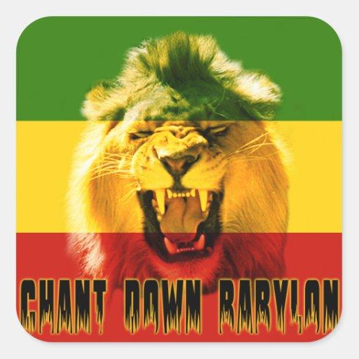 De Rasta do canto etiqueta do leão de Babylon para Adesivos Quadrados