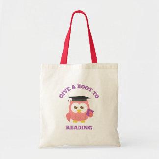 Dê uma buzina à leitura com coruja bonito bolsa de lona