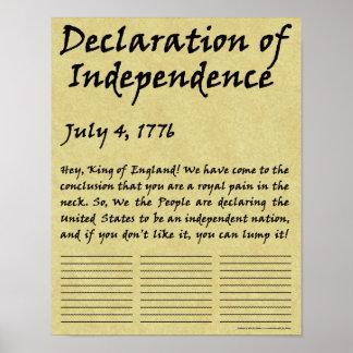 Declaração de independência condensada engraçada poster