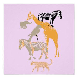 Decoração animal cor-de-rosa moderna do poster do poster perfeito
