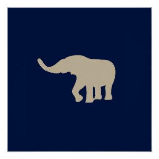 Decoração azul moderna do poster do elefante poster perfeito