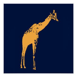 Decoração azul moderna do poster do girafa poster perfeito