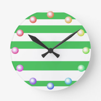 Decoração chique listrada feliz do verão das cores relógio de parede