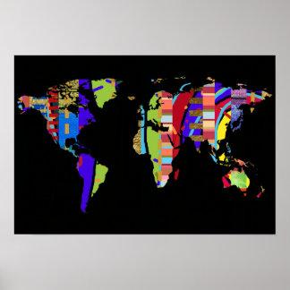 decoração colorida do mapa do mundo pôster