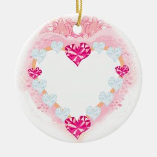 decoração cor-de-rosa do coração dos namorados ornamento de cerâmica redondo