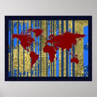 decoração da arte do mapa do mundo posteres
