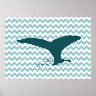 decoração da parede do impressão da baleia