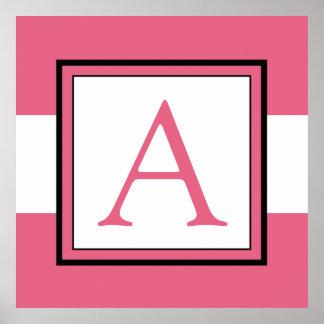 Decoração da sala da menina cor-de-rosa da inicial poster