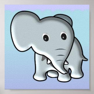 Decoração do berçário do elefante do bebê poster