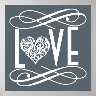 Decoração do escritório Home/do amor Pôster
