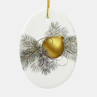 Decoração festiva do ouro ornamento de cerâmica oval