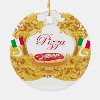 Decoração italiana da pizza ornamento de cerâmica redondo