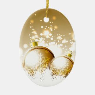 Decoração marrom dourada do ano novo com neve ornamento de cerâmica oval