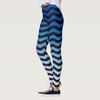 Decoração ondulada das listras das matiz azuis legging