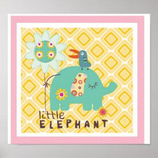 decoração pequena da parede do elefante poster