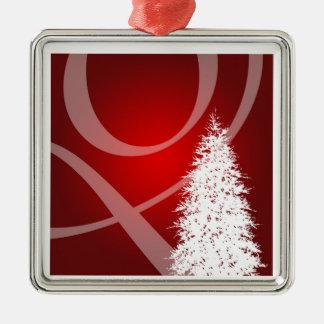 Decoração vermelha elegante da árvore do Xmas do Ornamento Quadrado Cor Prata