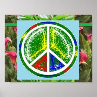 Decorações da arte do verde do SÍMBOLO de PAZ Pôsteres