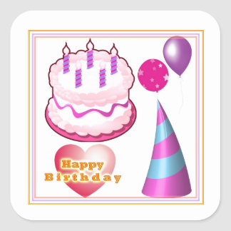 Decorações do balão do bolo de HappyBIRTHDAY Adesivo Quadrado
