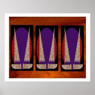 Decorações do veleiro da faísca do ouro de NOVINO Poster